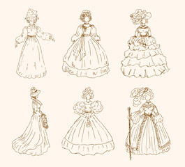 Women sketchy collection in retro style