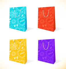 Vector set with isolated pockets  Ornamental paper-bag