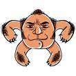 Angry cartoon face, vector illustration.