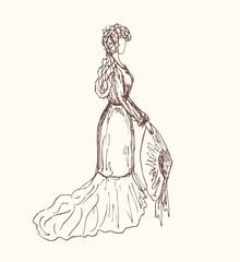 Sketchy vintage woman silhouette