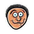 Funny cartoon face, vector illustration.