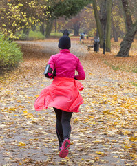 Female jogger in   park