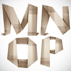 Origami style vector letters M N O P.