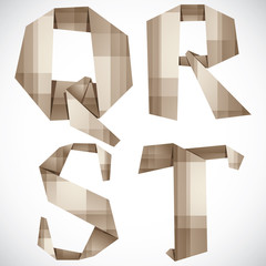 Origami style vector letters Q R S T.