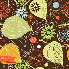 Colorful autumn mix. Nature seamless pattern