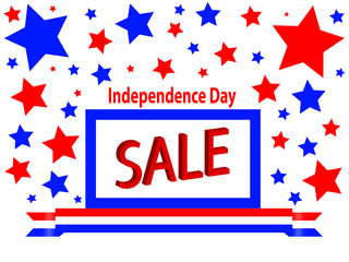 Independence Day Sale Sign with Floating Stars