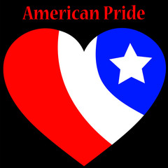 American Pride Heart Over Black