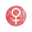 Female symbol Venus vector icon with pixel print halftone dots t