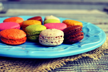 Colorful macaroons in a plate