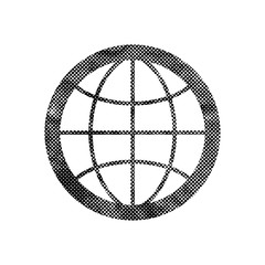 Earth simplistic vector icon with pixel print halftone dots text