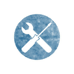 Repair icon with wrench and screwdriver, vector symbol with pixe