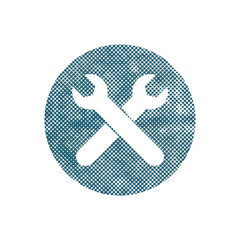 Repair icon with two wrenches, vector symbol with pixel print ha