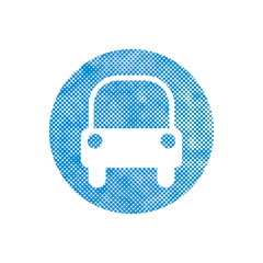 Car icon with pixel print halftone dots texture.