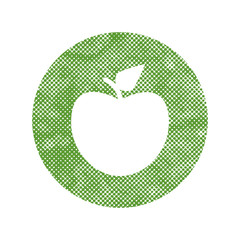 Green apple icon with pixel print halftone dots texture.