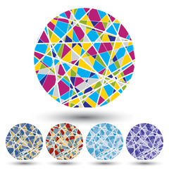 Set of bright segmented knitted spheres, geometric colorful figu