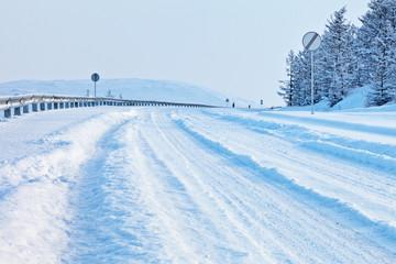 Winter snow road