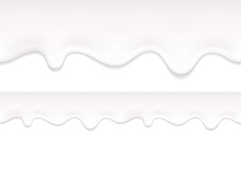 Yogurt drips. Seamless horizontal border.
