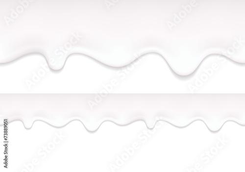 Yogurt drips. Seamless horizontal border.