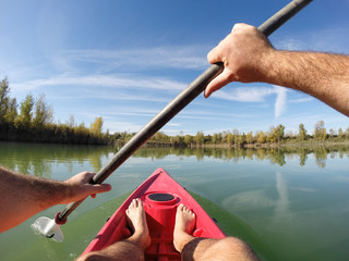 Point of view of a canoeist on a lake