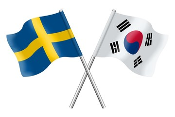 Flags: Sweden and South Korea