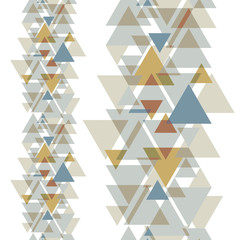 Halftone geometric colorful triangles on white background.