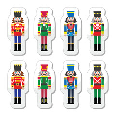 Christmas nutcracker - soldier figurine icons set