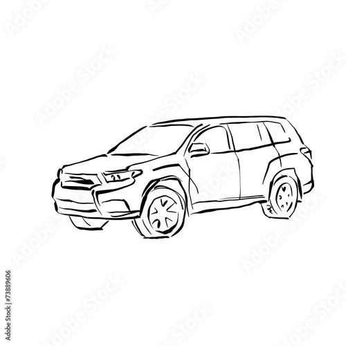 Monochrome hand drawn car on white background, black and white i