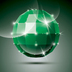 Party 3D green glossy disco ball created from geometric figures.