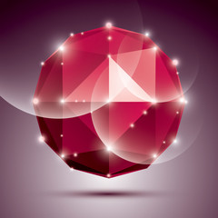 Abstract 3D ruby festive sphere with sparkles, red twinkle disco