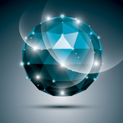 Abstract 3D sapphire gala sphere with gemstone effect, blue glos