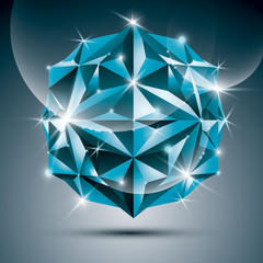 3D blue shiny sphere. Vector fractal dazzling abstract illustrat