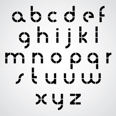 Monochrome dotted line bold font with rounded lower case letters