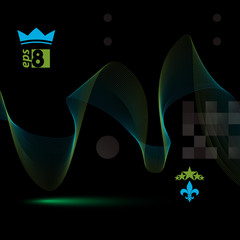 3d vector decorative background with curved transparent dynamic