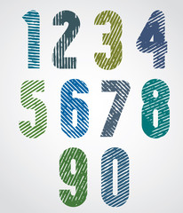Colored scratched numbers with rounded corners on white backgrou