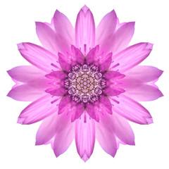 Pink Mandala Flower Ornament. Kaleidoscope Pattern Isolated