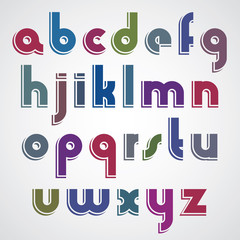 Colorful cartoon font, rounded lower case letters with white out