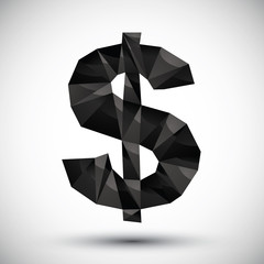 Black dollar sign geometric icon made in 3d modern style, best f