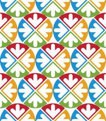 Decorative multicolored geometric seamless pattern with symmetri