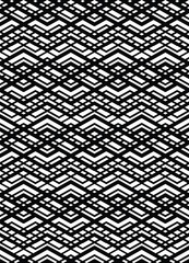 Monochrome geometric art seamless pattern, vector mosaic black a