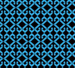 Seamless pattern with blue rhombs, black infinite geometric mosa