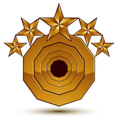 3d vector classic royal symbol, sophisticated golden round emble