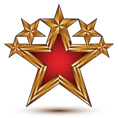 Renown vector emblem with five glamorous golden stars, 3d pentag