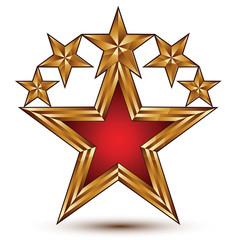 Vector glamorous glossy design element, branded 3d golden stars,