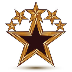 Branded golden geometric symbol, stylized golden star with black