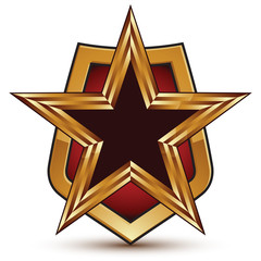 Refined vector golden star emblem placed on a shield, 3d pentago