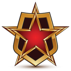Vector glorious glossy design element, luxury 3d golden star and