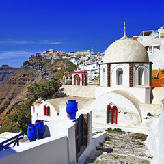 colors of Santorini - Fira, view with church and caldera