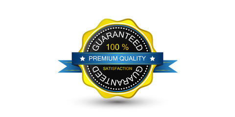 Golden guarantee badge, vector emblem and label