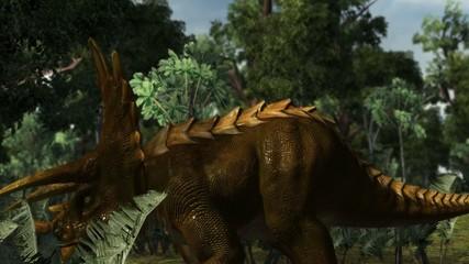 Dinosaur Triceratops in a prehistoric scene - dolly shot