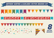 Birthday garlands vector brushes collection